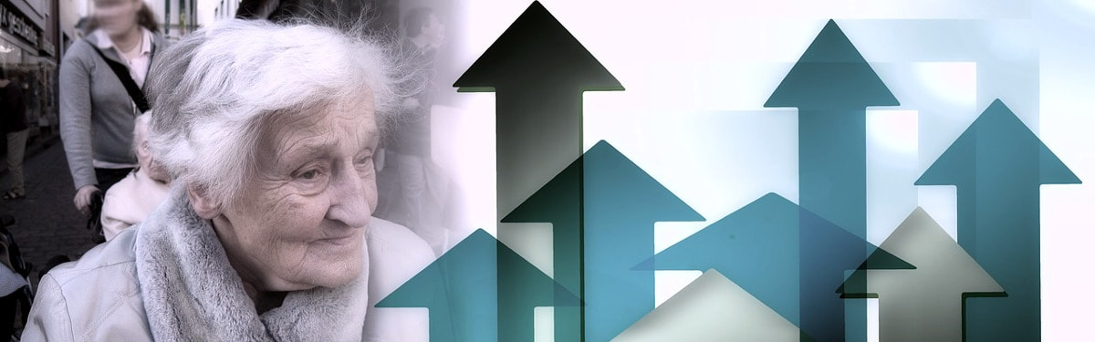 Palveluasuminen-sivun kansikuva: Vanhus ja nuolia ylöspäin